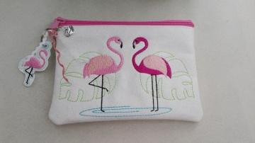 Tasche, Täschen, Mäppchen, Reißverschluß, Kunstleder, bestickt, Flamingo