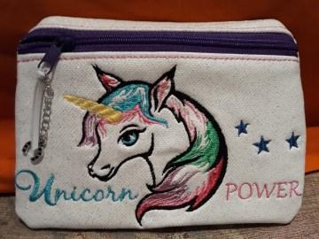 Tasche, Täschen, Mäppchen, Reißverschluß, Kunstleder, bestickt, Einhorn, Unicorn