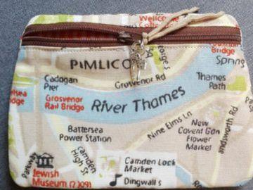 Tasche, Täschchen, Mäppchen, Reißverschluß, Baumwolle, London, Stadtplan,