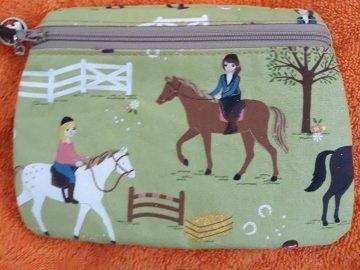 Tasche, Täschchen, Mäppchen, Reißverschluß, Baumwolle, Pferde