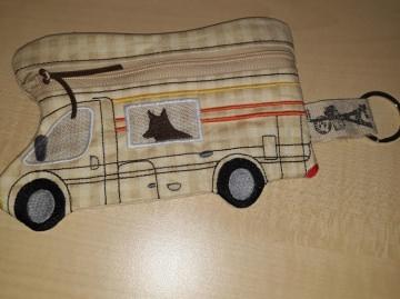 Tasche, Täschchen, Mäppchen, Reißverschluß, Wohnmobil, Camper gestickt,