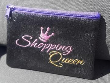 Tasche, Täschchen, Mäppchen, Reißverschluß, Kunstleder, bestickt, Spruch Shopping, Queen