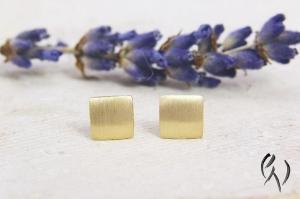 Ohrstecker Gold 750/-, Miniquadrat strichmatt  - Handarbeit kaufen