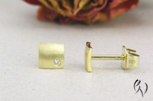 Ohrstecker Gold 585/- mit Brillant, Miniquadrat strichmatt - Handarbeit kaufen