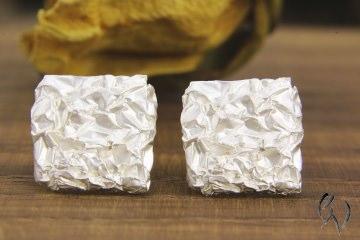 Ohrstecker Silber 925/-, zerknittertes Quadrat