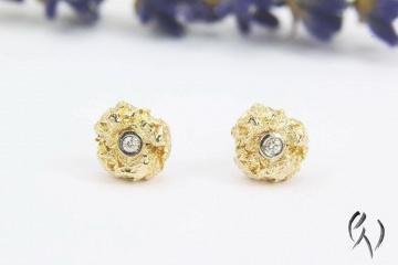 Ohrstecker Roségold 585/- mit Diamant, kleine Knitterkugel - Handarbeit kaufen