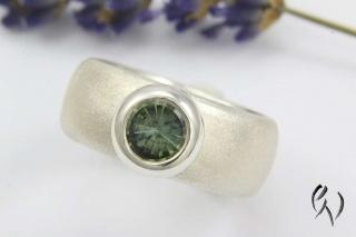 Breiter Ring Silber 925/-  mit blauem Turmalin - Handarbeit kaufen