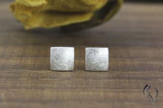 Ohrstecker Silber 925/-,  Miniquadrat mattgekratzt - Handarbeit kaufen