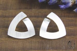 Ohrstecker Silber 925/- , Trinagel 12,5 mm, strichmatt - Handarbeit kaufen