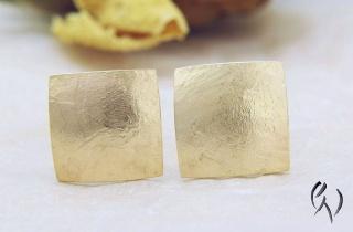 Ohrstecker Roségold 585/-, Quadrat papierstrukturiert  - Handarbeit kaufen
