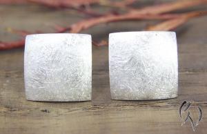 Ohrstecker Silber 925/- , großes Quadrat 10 mm, mattgekratzt