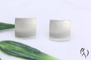 Ohrstecker Silber 925/- , großes Quadrat 10 mm, strichmatt - Handarbeit kaufen