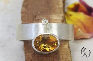 Ring Silber 925/- mit Citrin und Brillant
