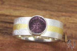 Ring Silber 925/-, mit  rosaTurmalin und Feingoldstreifen - Handarbeit kaufen