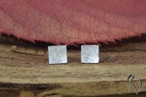 Ohrstecker Silber 925/- , Winzling mattgekratzt