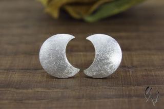 Ohrstecker Silber 925/- , kleine Mondsichel, mattgekratzt