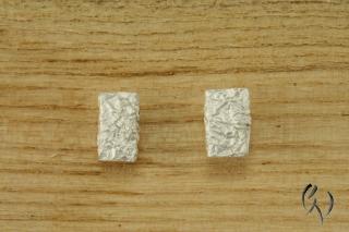 Ohrstecker Silber 925/-, Zerknittert, 9,5 x 6,5 mm - Handarbeit kaufen