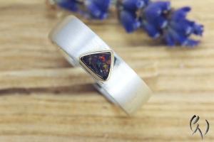 Schmaler Ring Silber 925/- mit Opal - Handarbeit kaufen
