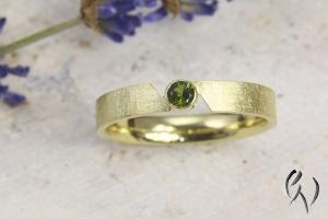 Schmaler Ring aus Gold 585/- mit grünem Turmalin