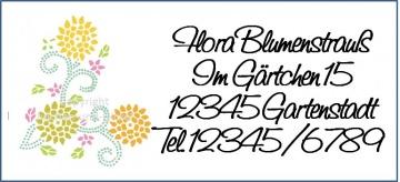 40 Adressaufkleber mit Wunschadresse Blumen Frühling Sommer