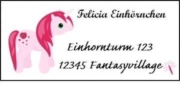 40 Adressaufkleber mit Wunschadresse Einhorn rosa Schulaufkleber Namensaufkleber