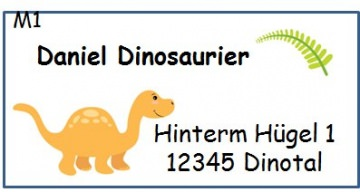 40 Adressaufkleber mit Wunschadresse Dinos Dinosaurier Namensaufkleber Schulaufkleber