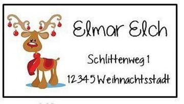 40 Adressaufkleber mit Wunschadresse Elch Rentier Weihnachten Weihnachtspost