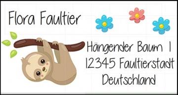 40 Adressaufkleber mit Wunschadresse Faultier -  auch als reiner Namensaufkleber möglich