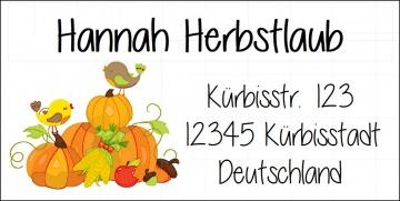 40 Adressaufkleber mit Wunschadresse  Herbst Herbstlaub