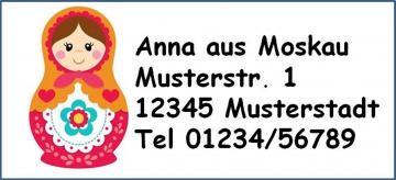 40 Adressaufkleber mit Wunschadresse bunte Matroschka auch als Schulaufkleber möglich