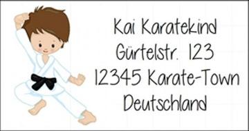 40 Adressaufkleber mit Wunschadresse  Karate Kids auch als Schulaufkleber oder Namensaufkleber