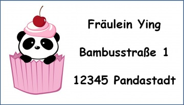 40 Adressaufkleber mit Wunschadresse  Panda auch als Schulaufkleber oder Namensaufkleber