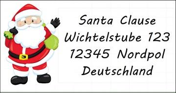 40 Adressaufkleber mit Wunschadresse  Weihnachtsmann Weihnachten Weihnachtskarte