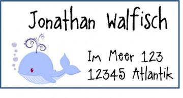 40 Adressaufkleber mit Wunschadresse  Wal maritim Anker Segelboot