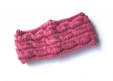 Stirnband ★ pink ★ mit Zopfmuster ★ gestricktes Stirnband ★ Wollstirnband ★ Die kleine Bastelwerkstatt