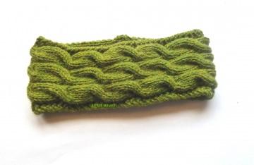 Stirnband ★ olivgrün ★ mit Zopfmuster ★ gestricktes Stirnband ★ Wollstirnband ★ Die kleine Bastelwerkstatt