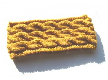 Stirnband ★ ocker / gelb mit Zopfmuster