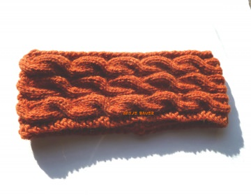 Stirnband ★ orange mit Zopfmuster