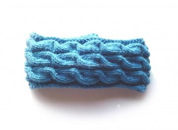 Stirnband ★ vergiss mein nicht (blau) ★ mit Zopfmuster ★ gestricktes Stirnband ★ Wollstirnband ★ Die kleine Bastelwerkstatt