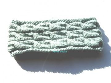 Stirnband ★ hellgrau-grün ★ mit Zopfmuster ★ gestricktes Stirnband ★ Wollstirnband ★ Die kleine Bastelwerkstatt