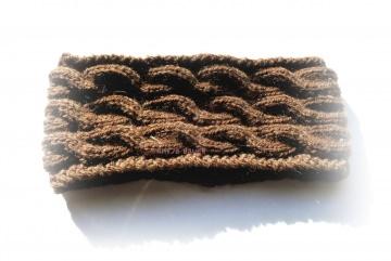 Stirnband ★ mittelbraun★ mit Zopfmuster ★ gestricktes Stirnband ★ Wollstirnband ★ Die kleine Bastelwerkstatt