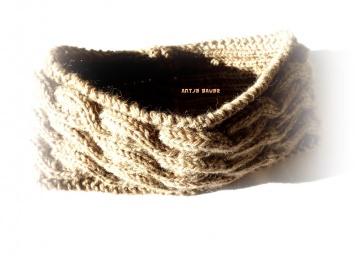 Stirnband ★ caramel ★ mit Zopfmuster ★ gestricktes Stirnband ★ Wollstirnband ★ Die kleine Bastelwerkstatt
