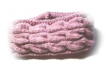 Stirnband ★ rosa ★ mit Zopfmuster ★ gestricktes Stirnband ★ Wollstirnband ★ Die kleine Bastelwerkstatt