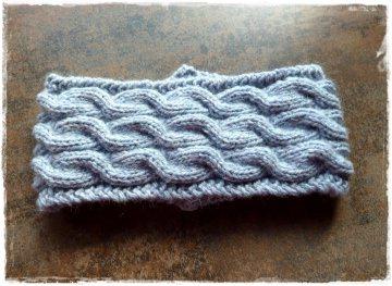 Stirnband ★ nebel ★ mit Zopfmuster ★ gestricktes Stirnband ★ Wollstirnband ★ Die kleine Bastelwerkstatt