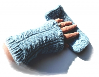Armstulpen ♥ Stulpen ♥ Pulswärmer ♥ gestrickt  ♥ eisblau ♥ Die kleine Bastelwerkstatt