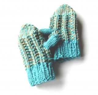 Baby Handschuhe ♥ Kleinkinder Handschuhe ♥ gestrickte Handschuhe ♥ Baby Fäustlinge ♥ türkis-beige ♥ Die kleine Bastelwerkstatt