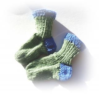 Baby-Socken Gr. 15/16  ♥ Socken - Handgestrickte Socken ♥ Kindersocken ♥ hellblau-grün ♥ Die kleine Bastelwerkstatt
