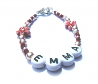 Namensarmband ♥ Armband ♥ Wunschname ♥ Kinderperlenarmband ♥ Buchstabenkette ♥ Die kleine Bastelwerkstatt