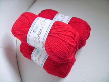 Strickgarn Cotton soft Fb. 3, rot, Baumwolle-mischgarn, Nadelstärke 3-4   - Handarbeit kaufen