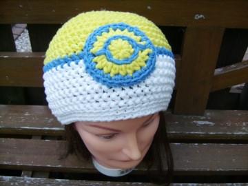 handgehäkelte Mütze aus Baumwollemischgarn, gelb/weiß, KU 52-56cm - Handarbeit kaufen